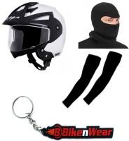 BikeNwear 1 Vega Crux Open Face Helmet-White-(Size-M-58 Cms), 1 Face Mask-Black, 1 Arm Sleeves-Black, 1 Keyring Combo