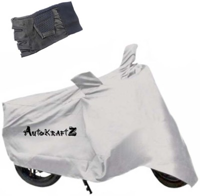 AutoKraftZ Premium Bike Body Cover Silver::Half Cut Leather Gloves For Yamaha Fascino Combo