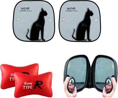 AutoKraftZ Car Side Sunshad Black Cat Design Set of 2, Blind Spot Mirror, Type R Red Combo