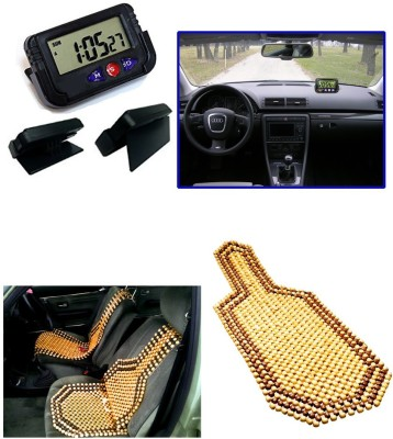 Auto Pearl 1Pcs Dash Board Clock, 1Pcs Wooden Bead Seat Cover Combo