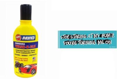 Abro 1 Car Bumper Sticker-Stop Staring, 1 Wash-N-Glow Shampoo (100 Ml) Combo