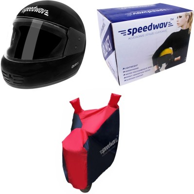 Speedwav 1 Sporty Scooter Body Cover, 1 Full Face Riding Helmet BLACK-Honda Aviator Combo