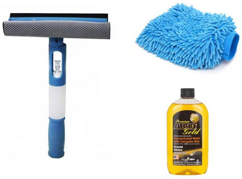 Abro 1 Combo 3 in 1 Cleaning Wiper, 1 Microfiber Glove Mitt, 1 Shampoo-472 ml Combo
