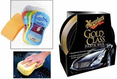 Meguiar's 1 Meguiars Gold Class Paste Wax Polish -449ml, 1 Magic Sponge Combo