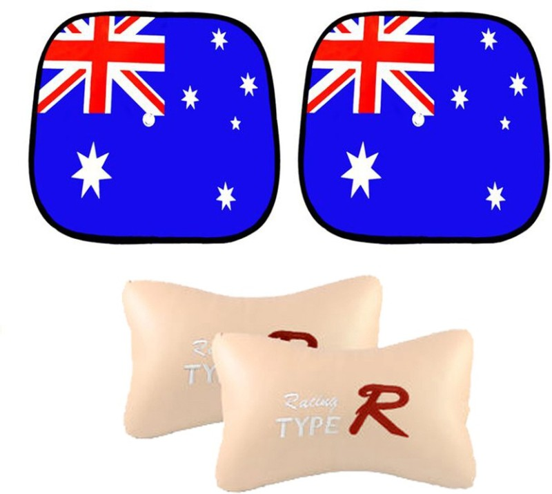 AutoKraftZ Car Side Sunshade australian Flag design Set Of 2, Type R Beige Combo