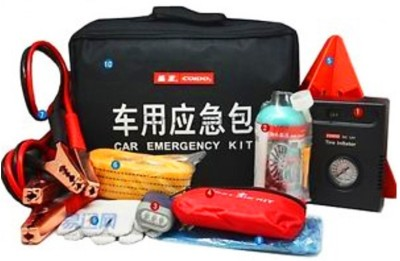 Coido 1 Emergency Triangle, 1 Dc 12V Tire Inflater With Flashlight, 1 Tire Sealant., 1 Booster Cables, 1 First Aid Kit, 1 Towing Rope 3 Ton, 1 Hand-Winding Torch, 1 Rain Poncho, 1 Hand Gloves, 1 Storage Bag Combo