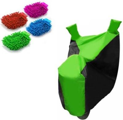 Retina 1x Universal Honda Activa Black & Green Bike Cover, 4x Microfiber Vehicle Washing Hand Gloves Combo