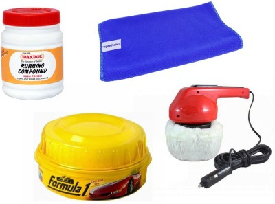 Waxpol 1 Car Polisher, 1 Formula 1 Wax Polish, 1 Waxpol Rubbing Compound, 1 Cleaning Cloth Combo