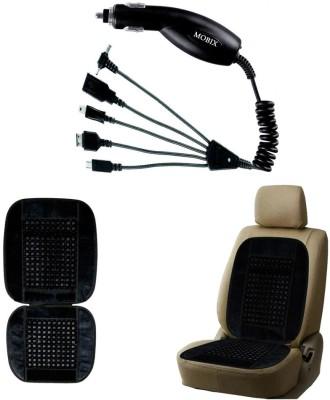 Auto Pearl 1Pcs Mobix Car Charger, 1Pcs Bead Seat Cushion with Black Velvet Border Combo