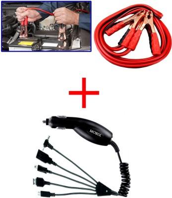 Auto Pearl 1Pcs 500 Amp Heavy Duty Jumper Booster Cables 6Feet, 1Pcs Mobix Car Charger Combo