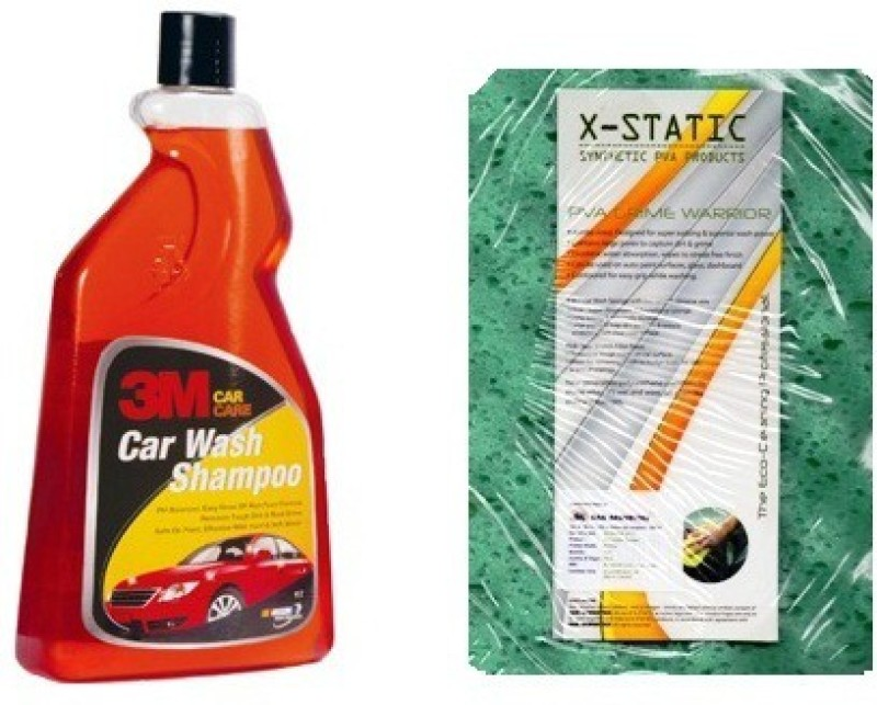 3M 1Ltr 3m Car Wash SHampoo, 1 Vehicle Washing PVA Sponge Combo