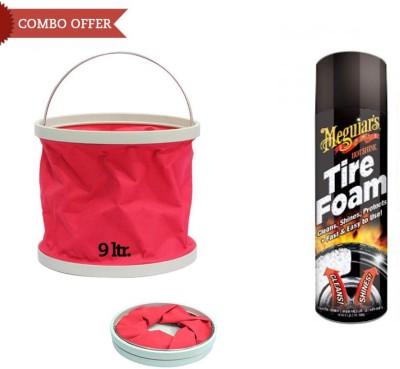 Meguiar's 1 Meguiars Car/Bike Hot Shine Tire Foam-538ml, 1 Foldable Water Bucket Combo