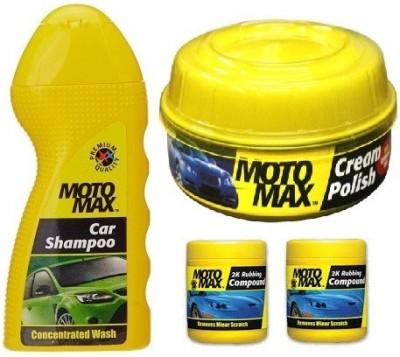 MotoMax 1 Car Shampoo, 1 Cream Polish, 2 (2k Rubbing Compound) Combo