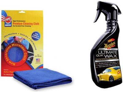 Meguiar's 1 Combo of Meguiars Ultimate Quick Wax Wash-450ml, 1 Abro Microfiber Cloth Combo