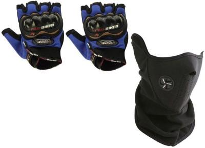 Pro Biker 1 Bike Gloves, 1 Neoprene Half Face Mask-Black Combo
