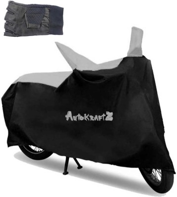AutoKraftZ Premium Bike Body Cover Black & Silver::Half Cut Leather Gloves For Bajaj Avenger 150 Street Combo