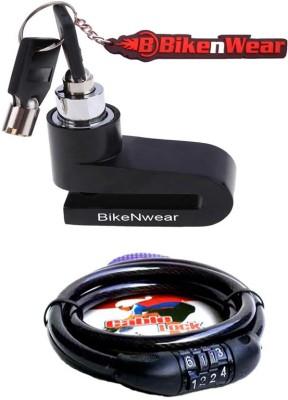 BikeNwear 1 Disc Brake Lock-Black, 1 Cable Numberic Lock-Black Combo