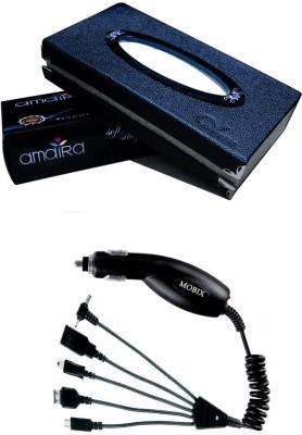 Kozdiko 1Pcs Car Tissue Paper with Box Black, 1Pcs Mobix Car Charger Combo