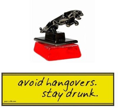 Speedwav 1 Combo Of Car Bumper Sticker-AVOID HANGOVERS, 1 Jaguar Perfume-Red Combo