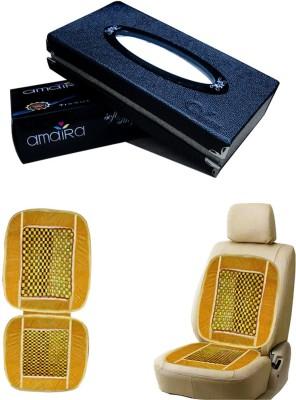 Kozdiko 1Pcs Car Tissue Paper with Box Black, 1Pcs Bead Seat Cushion with Beige Velvet Border Combo