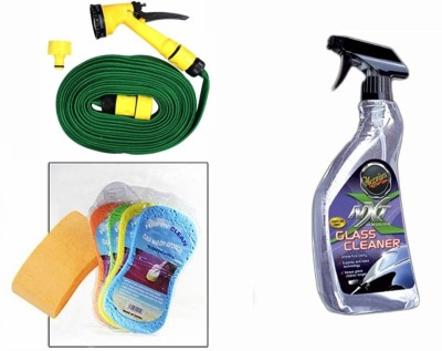 Meguiar's 1 Meguiars NXT Generation Glass Cleaner-709ml, 1 Magic Sponge, 1 Spray Gun, 1 Spray Gun Combo