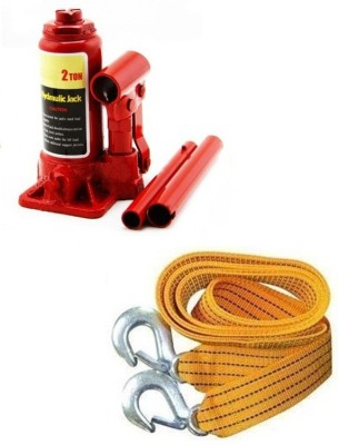 AutoSun 2 Ton Hydraulic Vehicle Jack With Towing Cable Combo