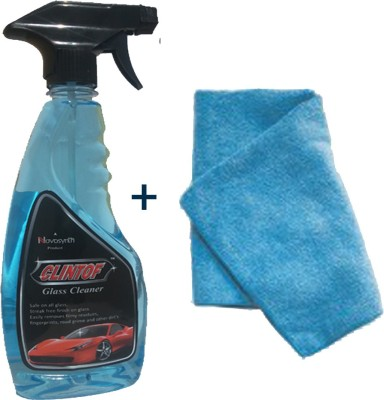 clintof Car Glass Cleaner, Microfiber Cloth Combo