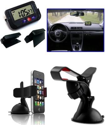 Auto Pearl 1Pcs Dash Board Clock, 1Pcs Car Moblie Stand Combo