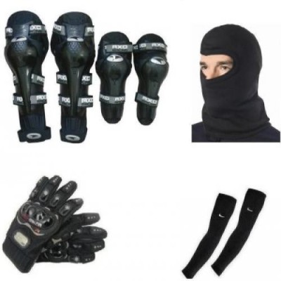 Joynix 1 Axo Knee And Elbow Guard, 1 Probiker Gloves Black XL, 1 Balaclava, 1 Pair Arm Sleeves Combo
