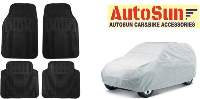 AutoSun Car Body Cover Best Quality Silver + Car Floor Foot Mat Rubber Black For -Mahindra Thar Combo