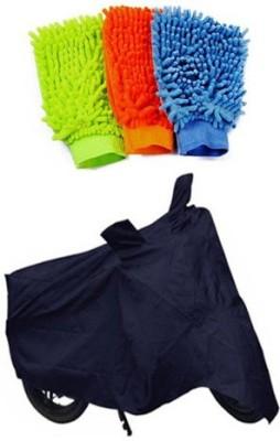 Retina 1x Universal Bike Body Cover, 3x Microfiber Vehicle Washing Hand Gloves Combo