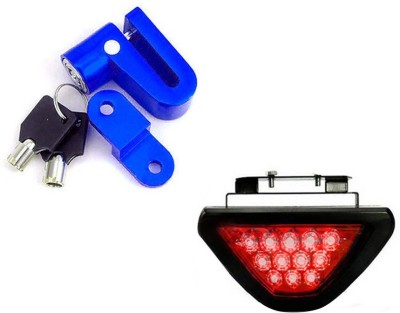 Speedwav 1 Bike Disc Break Secturity Lock, 1 12LEDBrakeLight-Red Combo