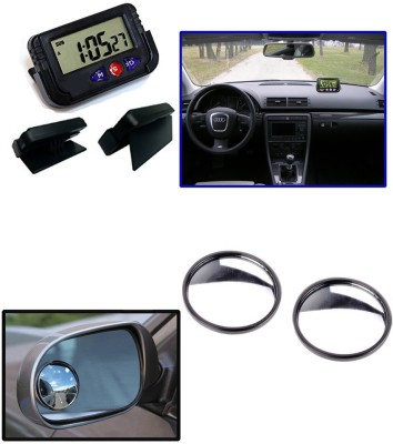 Auto Pearl 1Pcs Dash Board Clock, 1Set Rear Side View Blind Spot Mirror Combo