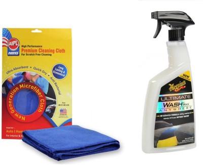 Meguiar's 1 Combo of Meguiars Wash & Wax anywhere Trigger-828ml, 1 Abro Microfiber Cloth Combo