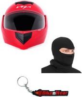 BikeNwear 1 Vega Crux Full Face Helmet-Red-(Size-M-58 Cms), 1 Face Mask-Black, 1 Keyring Combo