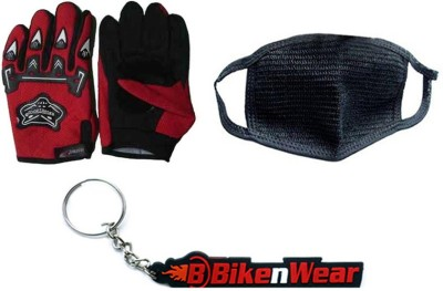 BikeNwear 1 Knighthood Gloves-Red, 1 Pollution Mask-Black, 1 Bikenwear Keyring Combo