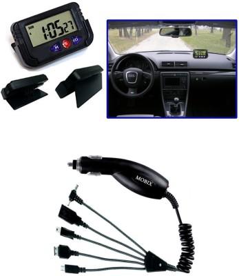 Auto Pearl 1Pcs Dash Board Clock, 1Pcs Mobix Car Charger Combo