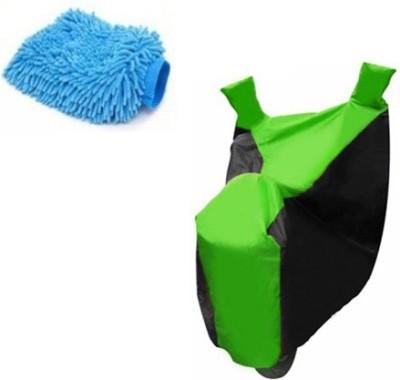 Retina 1x Universal Bajaj Pulsar Black & Green Bike Cover, 1x Microfiber Vehicle Washing Hand Glove Combo