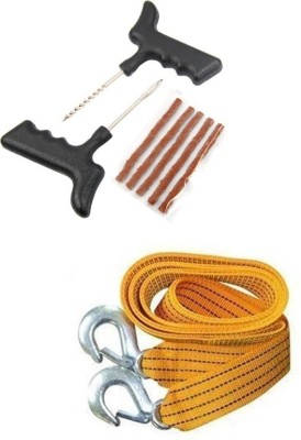 AutoSun Tubeless Tyre Puncture Repair Kit With Towing Cable Combo
