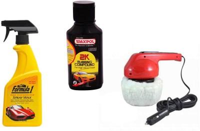 Waxpol 1 Car Polisher, 1 Formula 1 Spray Wax Polish, 1 Waxpol 2K Rubbing Compound Combo
