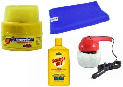 Abro 1 Car Polisher, 1 Abro Wax Polish, 1 Formula 1 Rubbing Compound, 1 Cleaning Cloth Combo