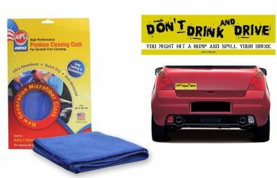 Abro 1 Combo Of Car Bumper Sticker-STOP DRINK N DRIVE, 1 Abro Microfiber Cloth Combo
