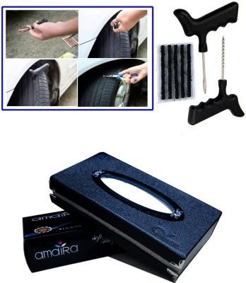 Auto Pearl 1Pcs Tubeless Tyre / Tire Puncture Kit, 1Pcs Car Tissue Paper with Box Black Combo