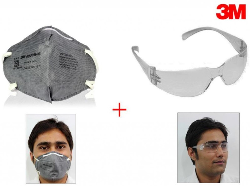 3M 1 Stylish Bike Riding Goggles Eyewear, 1 AntiPollutionFaceMask Combo