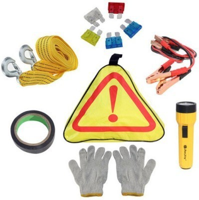 Kozdiko 6 in 1 Emergency Tool Kit (Jumper Cable,Fuse set,Gloves,Torch,Tape,Tow Rope), Combo
