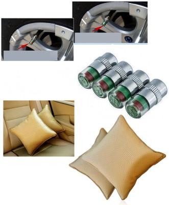Auto Pearl 4Pcs Car and Bike Air Alert Tire Valve Cap, 1Pcs Car Vastra Cushin Beige Combo