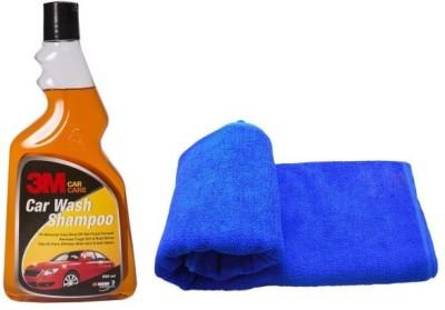 3M Car Care Car Shampoo Car Washing Liquid(500 ml), Microfiber Vehicle Washing Cloth Combo