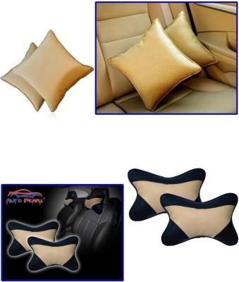 Auto Pearl 1Pcs Beige Car Cushion Pillow, 1Pcs Black&Beige Car Neck Rest Combo