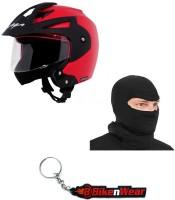 BikeNwear 1 Vega Crux Open Face Helmet-Red-(Size-M-58 Cms), 1 Face Mask-Black, 1 Keyring Combo