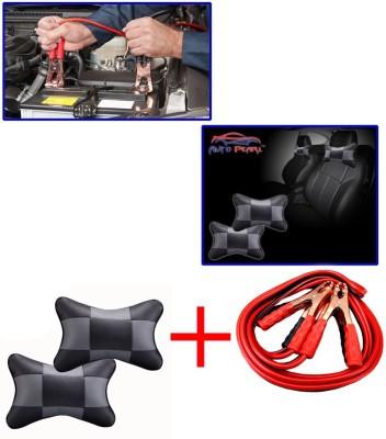 Auto Pearl 1Pcs 500 Amp Heavy Duty Jumper Booster Cables 7.5Feet, 1Pcs Black&Grey Car Neck Rest Combo